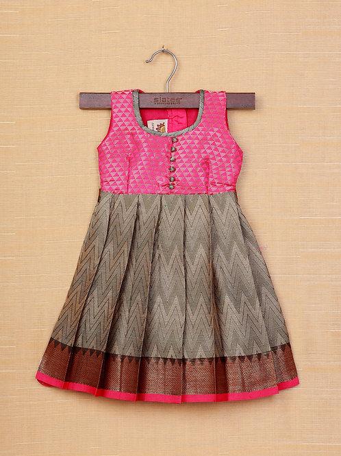 Shivangi Pink Grey Banarasi Frocks For Little Ones