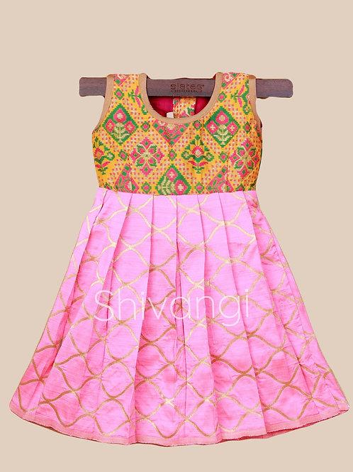 Shivangi Yellow Pink Banarasi Frocks For Little Ones