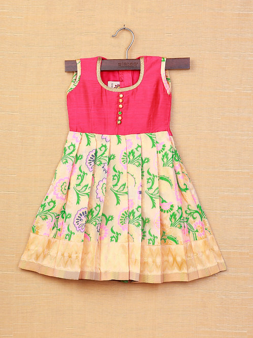 Shivangi Pink Cream Banarasi Frocks For Little Ones