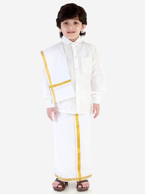 White Silk Dhoti Shirt Silk Vesti Mundu with Jari and Ramraj Ottiko Kattiko Front