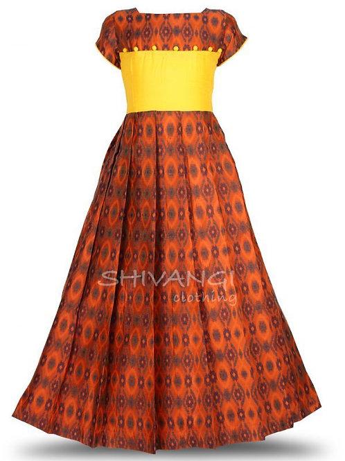 Shivangi Ikat Slub Long Gown