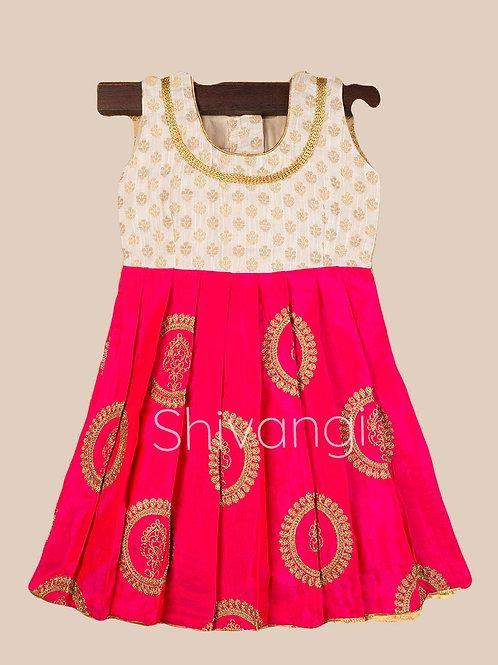 Shivangi Cream Pink Banarasi Frocks For Little Ones