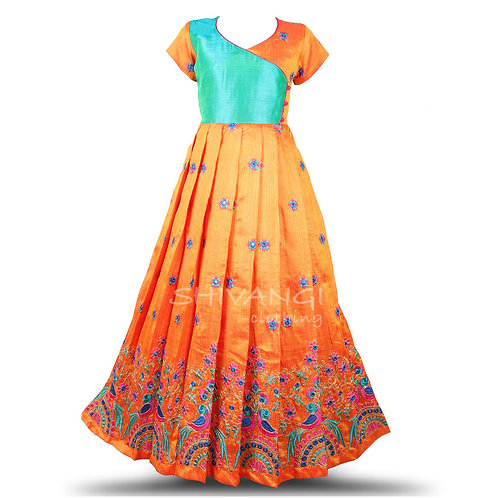 Shivangi Embroidery parrot Long Gown