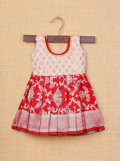 Shivangi Cream Red Banarasi Frocks For Little Ones