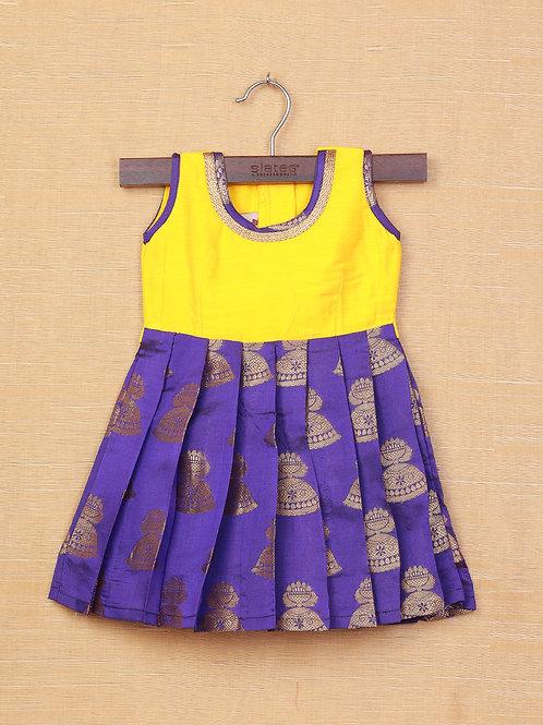 Shivangi Yellow Purple Banarasi Frocks For Little Ones