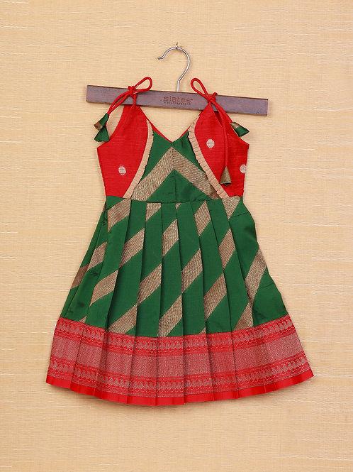 Shivangi Green Red Banarasi Frocks For Little Ones