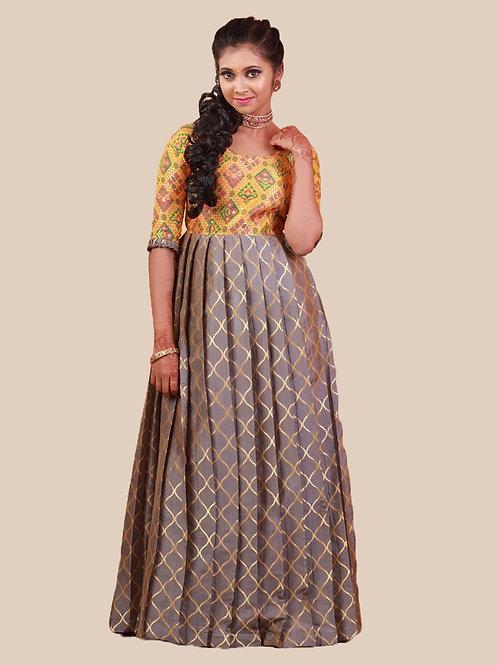 Shivangi Tafetta Spiral Long Gown Grey
