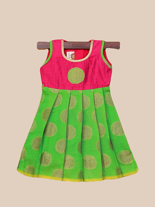 Shivangi Pink Green Banarasi Frocks For Little Ones