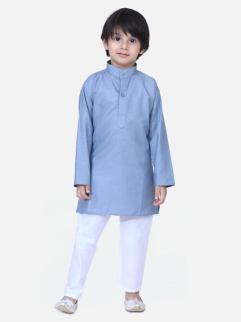 BownBee Grey Full Sleeve Stand Collar Kurta Pajama
