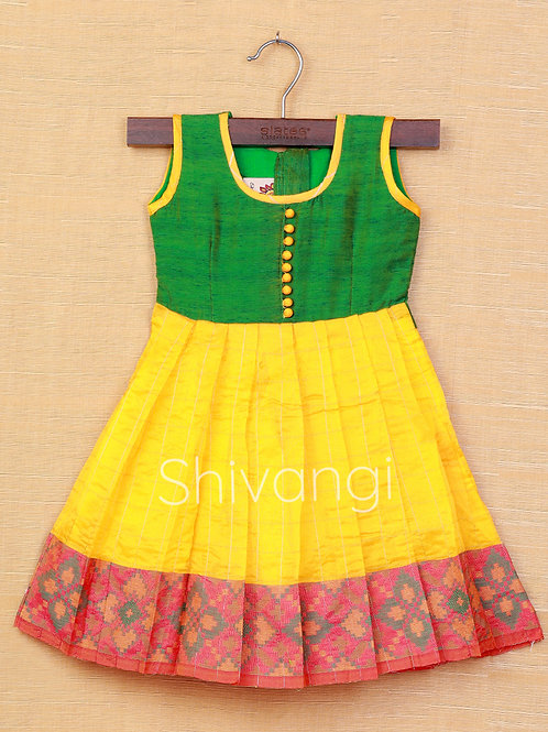 Shivangi Green Yellow Banarasi Frocks For Little Ones