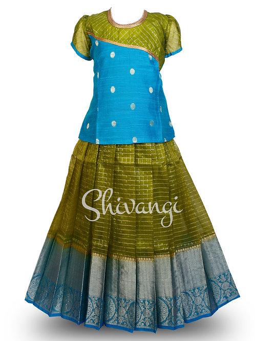 Shivangi Organza checks Pattu Pavadai/Lehenga