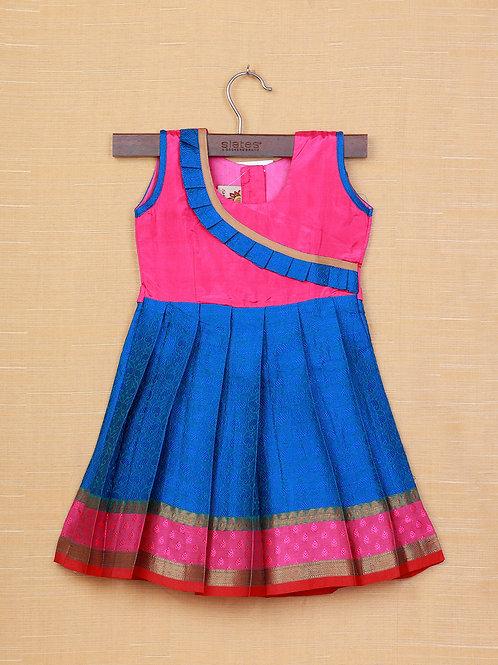 Shivangi Pink Blue Banarasi Frocks For Little Ones