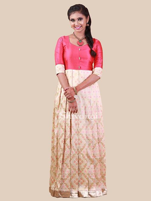 Shivangi Brocade Meena Diamond Long Gown
