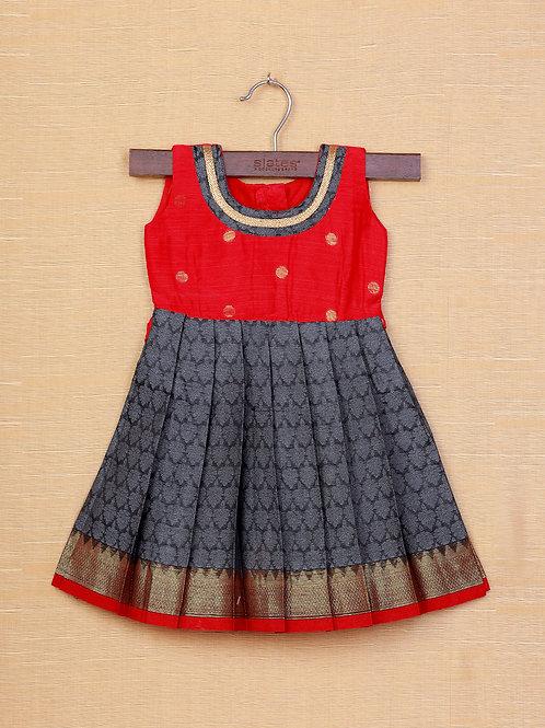 Shivangi Red Grey Banarasi Frocks For Little Ones