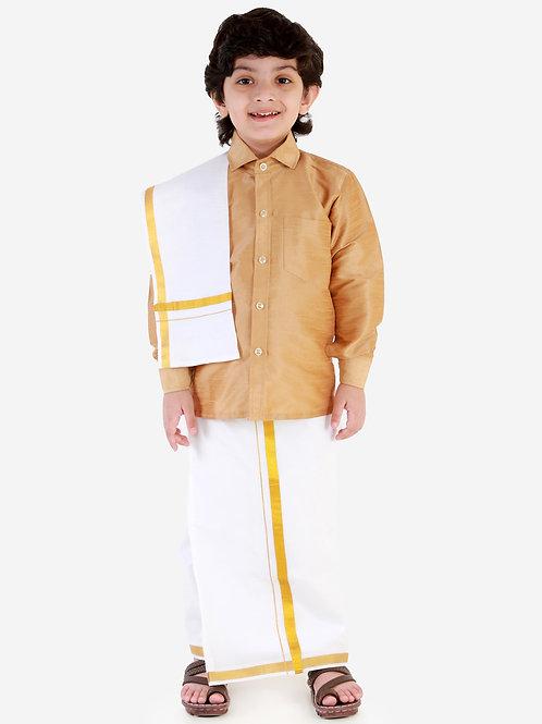 Gold Silk Dhoti Shirt Silk Vesti Mundu with Jari and Ramraj Ottiko Kattiko