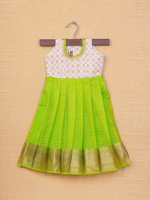 Shivangi Cream Green Banarasi Frocks For Little Ones