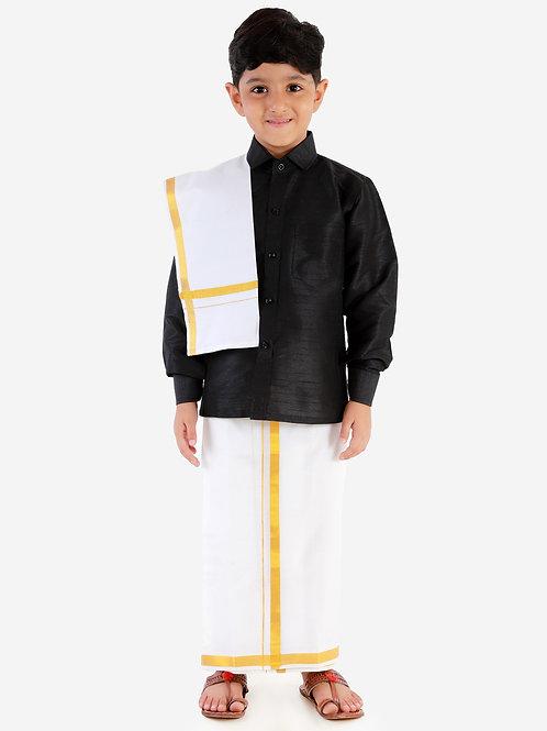 Black Silk Dhoti Shirt Silk Vesti Mundu with Jari and Ramraj Ottiko Kattiko