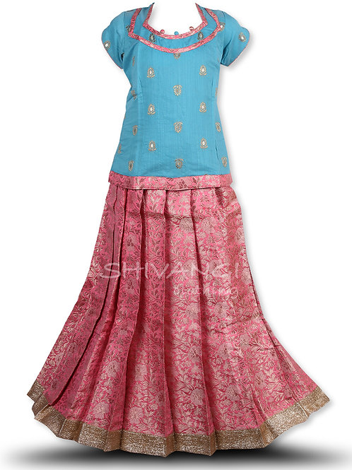 Shivangi Rose Pastel Pattu Pavadai/Lehenga!!!