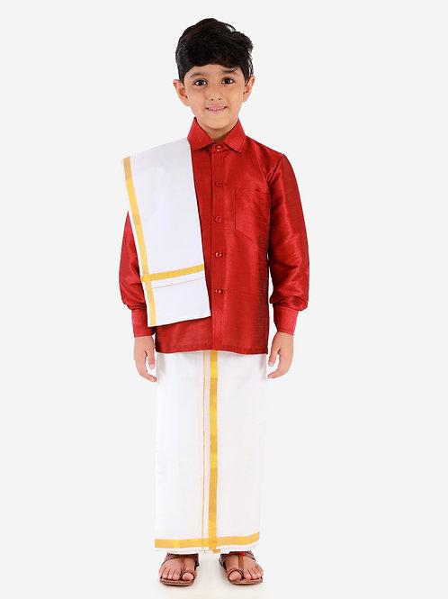 Maroon Silk Dhoti Shirt Silk Vesti Mundu with Jari and Ramraj Ottiko Kattiko Front