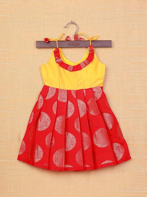 Shivangi Yellow Red Banarasi Frocks For Little Ones