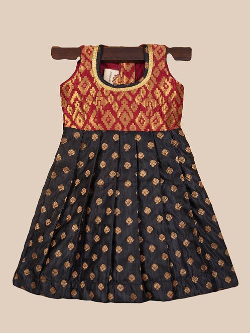 Shivangi Red Black Banarasi Frocks For Little Ones