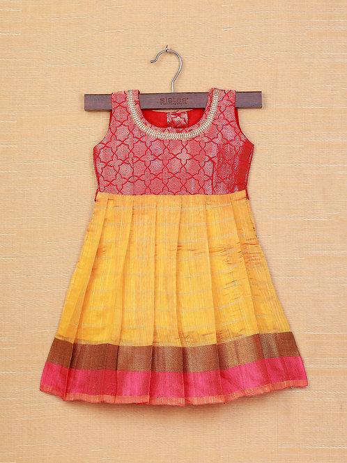 Shivangi Red Yellow Banarasi Frocks For Little Ones