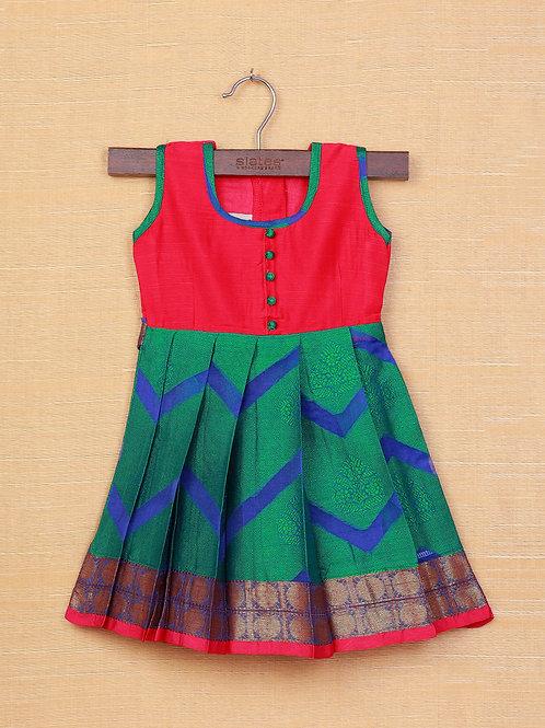 Shivangi Red Green Banarasi Frocks For Little Ones