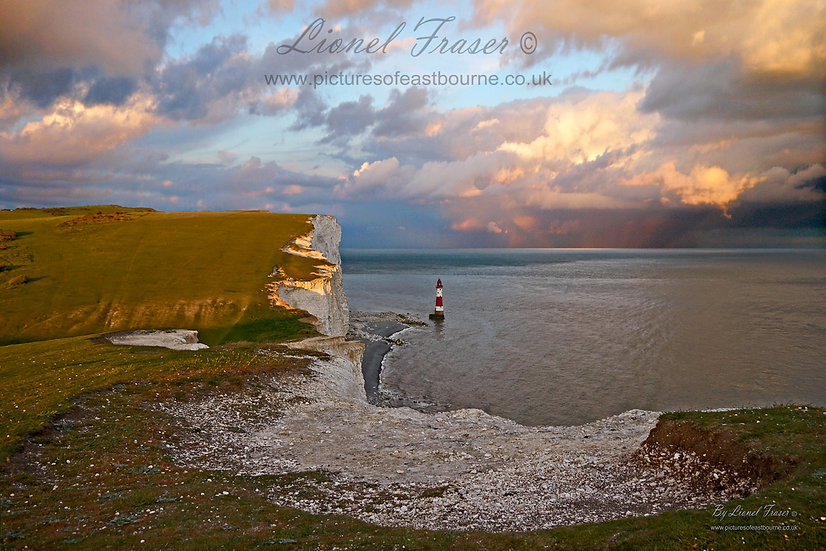 102A4 Sunset on a Storm Beachy Head Lighthouse