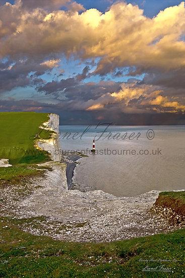 SP102A1 Sunset on a Storm Beachy Head Lighthouse