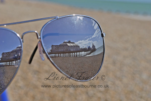 103D1Sunglasses Reflection of Eastbourne Pier