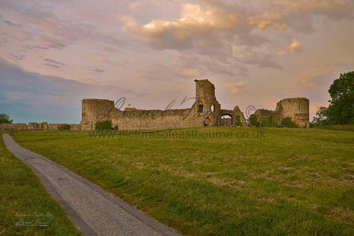 230G Pevensey Castle at Sunset