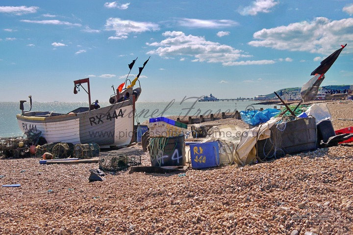 151C Eastbourne Fishing Boat on Beach, Pier behind