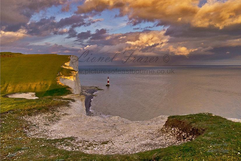 102A2 Sunset on a Storm Beachy Head Lighthouse