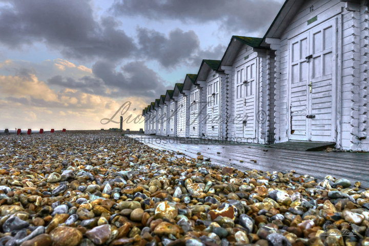 109E1 Eastbourne Beach Huts at Sunset