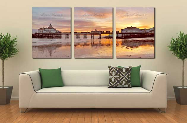 108A4 3Panel Picture of Eastbourne Pier Sunset