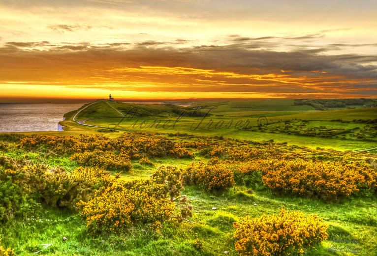 102F Belle Tout Lighthouse at Sunset HDR