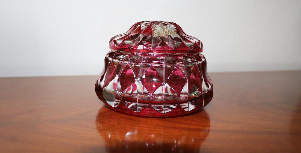 Bonbonnière en cristal du Val St Lambert, époque Art Déco