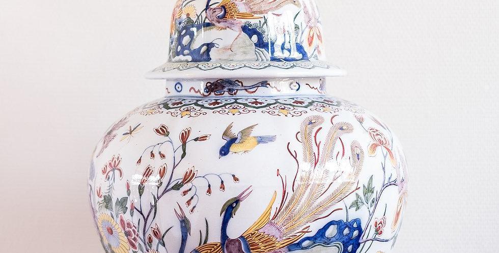 Vase couvert en faïence polychrome, estampillé BOCH, 1880, 70 cm