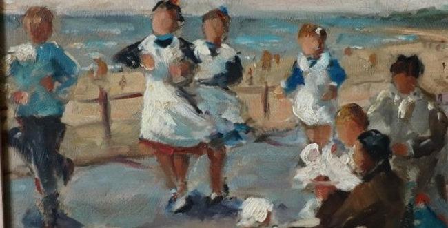 """HSP Piet VOLCKAERT (1901-1973), """"Jeux d'enfants sur la digue"""", 20 x 25 cm"""