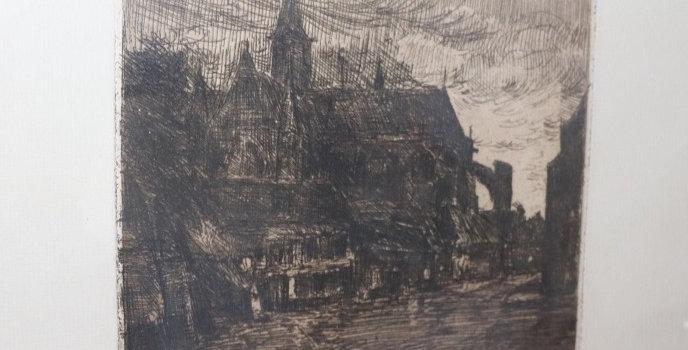 "Gravure Richard HEINTZ (1871-1929), ""Soir à Furnes"", 20 x 22 cm"