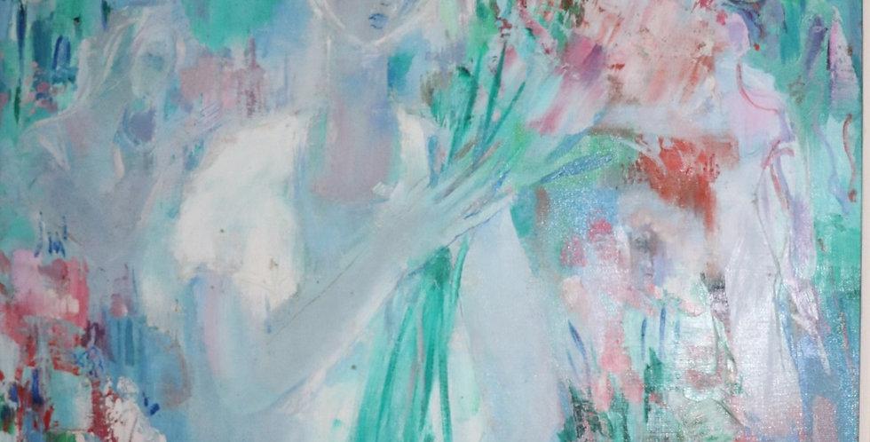 """DAXHELET Paul (1905-1993), HST, """"Jeune fille au bouquet"""", 80 x 60 cm"""
