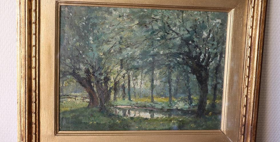 """GOUWELOOS Charles (1867-1945), HST,  """"Les saules par temps gris """", 23 x 31 cm"""