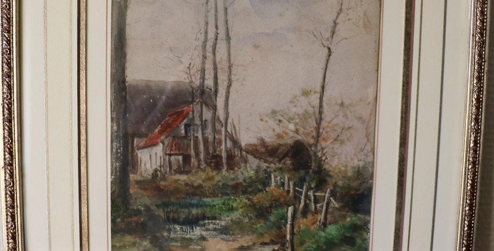 """Aquarelle de Eugène FOREST, 1808-1891, """"Paysage animé"""", 27 x 21 cm"""