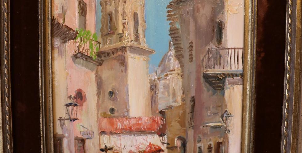 """HSP Paul DAXHELET (1905-1993), """"Rue animée à Mexico"""", 40 x 20 cm"""
