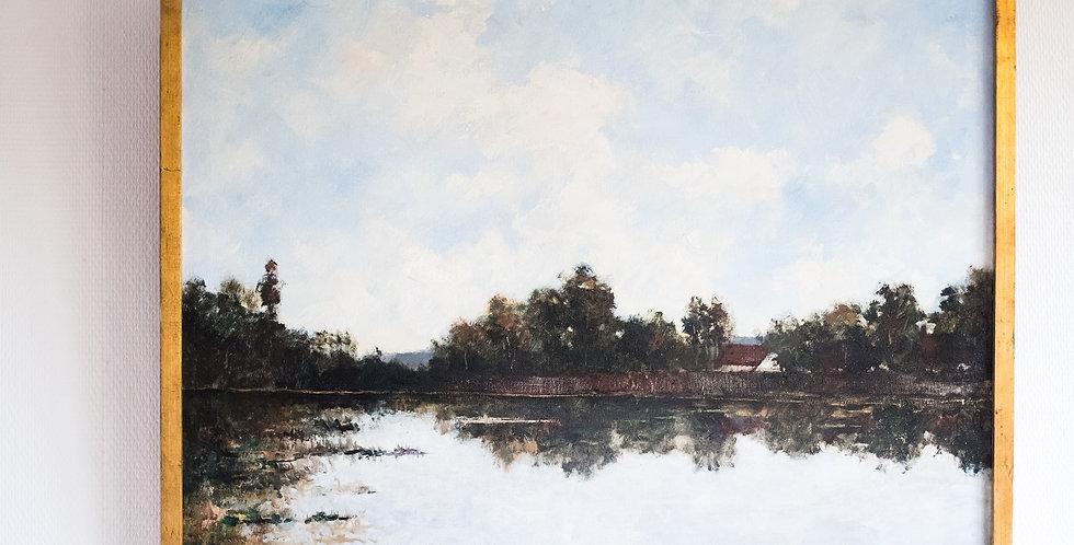 """HST Maurice DE MEYER (1911-1999), """"Vue d'un étang en été"""", 60 x 80 cm"""