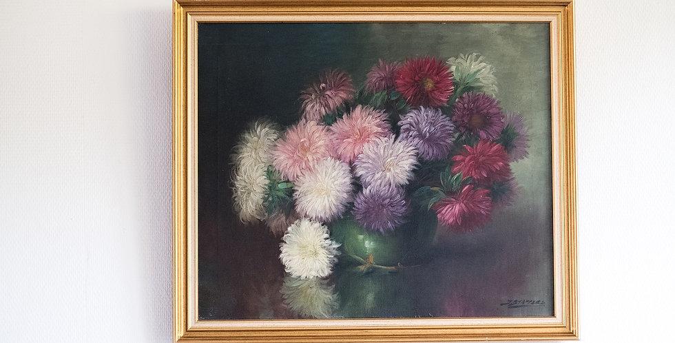 """HST Julien STAPPERS (1875-1960), """"Vase aux Chrysanthèmes"""", 49 x 59 cm"""