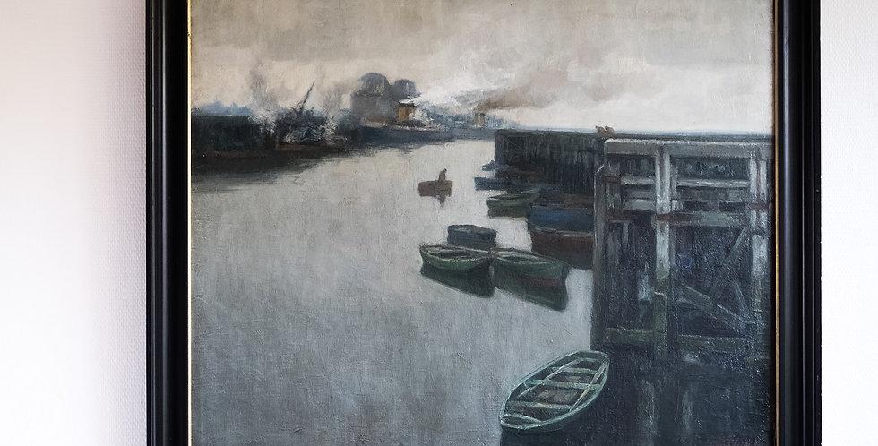 """CLESSE Louis (1889-1961), HST, """"Entrée d'un port"""", (19)37, 80 x 100 cm"""