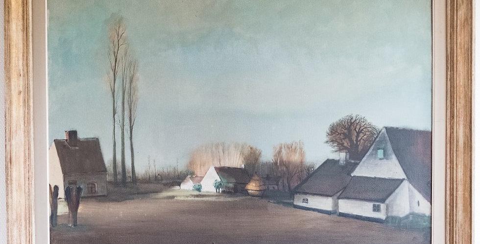 """HST Gaston VAN LANDEGHEM (1883-1948), """"Automne 1947 à Dentergem"""", 80 x 100 cm"""