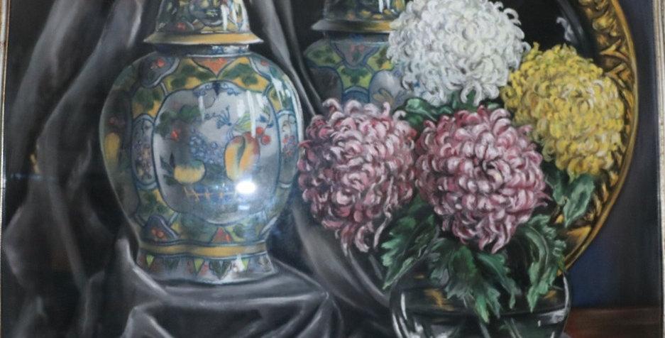 """Pastel Simone DUJARDIN (20ème), """"Nature morte aux Chrysanthèmes"""", 74 x 85 cm"""