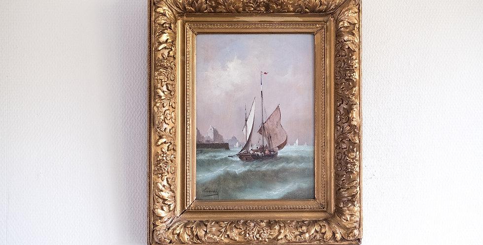 """LAMOIS (peintre français du 19me), Paire d'HSP,  """"Marine"""", 30 x 20 cm"""